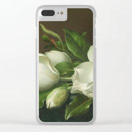Martin Johnson Heade - Magnolias On Light Blue Velvet Cloth1885. Clear iPhone Case