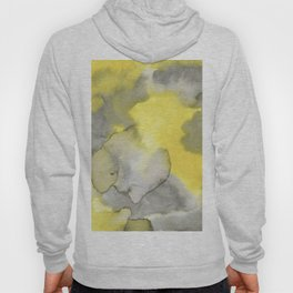 Hand painted gray yellow abstract watercolor pattern Hoody