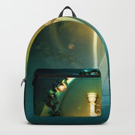 Beautiful fairy playing a harp in the sky Backpack