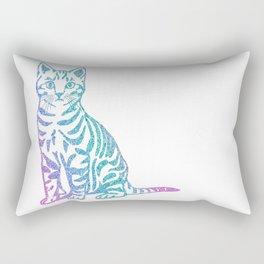 Rainbow Glitter Kitty Rectangular Pillow