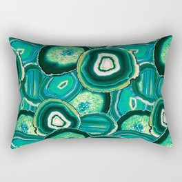 Geode Slices No.1 in Emerald + Malachite Green Rectangular Pillow