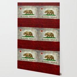 Californian flag the Bear flag in retro grunge Wallpaper
