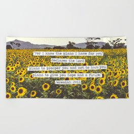 Jeremiah Sunflowers Beach Towel