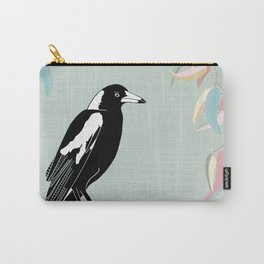 Australian Magpie on Green Carry-All Pouch