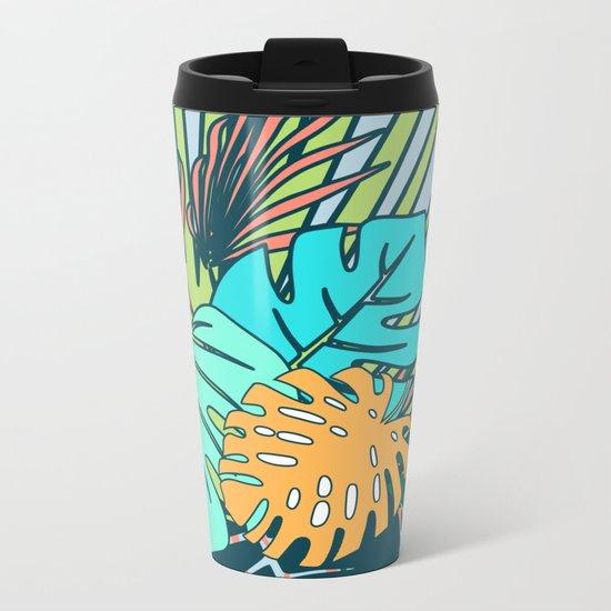 Tropical leaves blue Metal Travel Mug