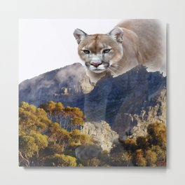 Mountain lion and mountains Metal Print