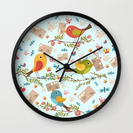 Special Springtime Delivery From Little Birds Pattern Wall Clock