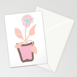 FLOWER POT PASTEL PINK BLUE Stationery Cards
