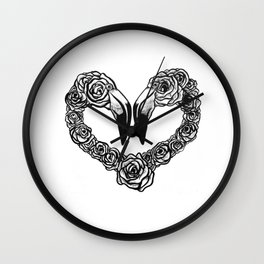 Flamingo Heart Wall Clock