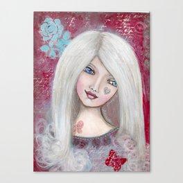 "Mixed Media Girl ""Madeleine"" Canvas Print"