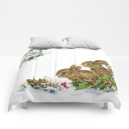 Winter in the forest - Animal Bunny Illustration Comforters