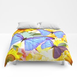 Bright Blue Butterflies Yellow Flowers #decor #society6 #buyart Comforters