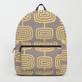 Mid Century Modern Atomic Rings Pattern Yellow and Gray 3 Backpack