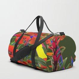 MODERN  ORIENTAL STYLE FLOWERS GREEN GARDEN DESIGN Duffle Bag