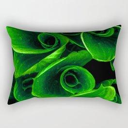 Green Twirl Leaves Rectangular Pillow