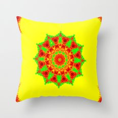Lovely Healing Mandalas in Brilliant Colors: Red, Yellow, and Green Throw Pillow