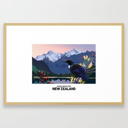 RETRO NEW ZEALAND POSTER Framed Art Print