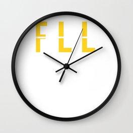 FLL - Fort Lauderdale Airport Florida - Airport Code Souvenir or Gift Design  Wall Clock