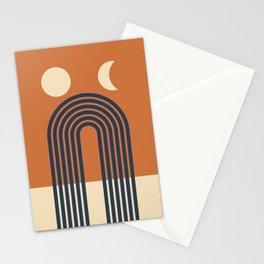 Geometric Lines in Terracotta Beige Navy Blue (Moon Phase and Rainbow Abstract) Stationery Cards