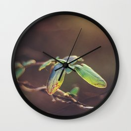 Holding On: A Winter Leaf Wall Clock