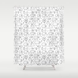 Funny sheeps Shower Curtain