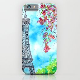 Eiffel Tower in Spring Watercolor iPhone Case