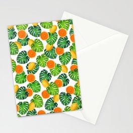 Oranges Lemons Monstera White Stationery Cards