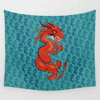smaug Wall Tapestries featuring Red Dragon with Teal by Cartoonasaurus