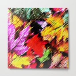 Colorful autumn leaves forest floor scene by Jéanpaul Ferro Metal Print