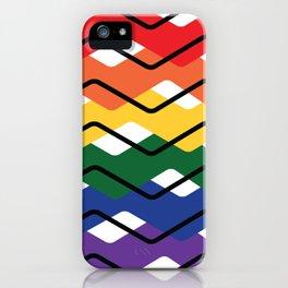 LGBT Rainbow Waves Flat Design White II iPhone Case