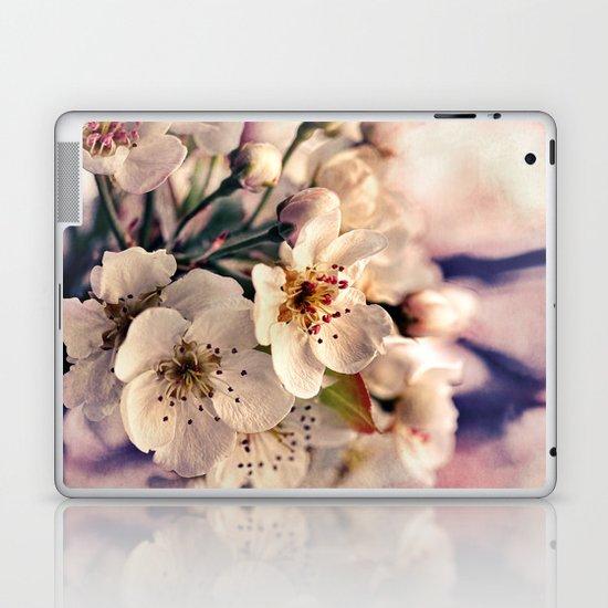Blossoms at Dusk - vintage toned & textured macro photograph Laptop & iPad Skin