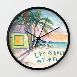 Life is better in Flip Flops Caribbean Beach Scene Wall Clock