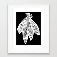 blackhawks Framed Art Prints featuring Inverted Chicago Blackhawks by Alexandra Nee