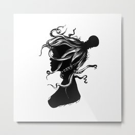 Squindy Silhouette Metal Print