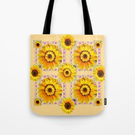 CREAM COLOR WESTERN STYLE YELLOW SUNFLOWERS Tote Bag