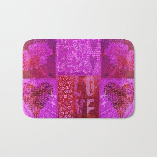 Pink heart flower love painting Bath Mat