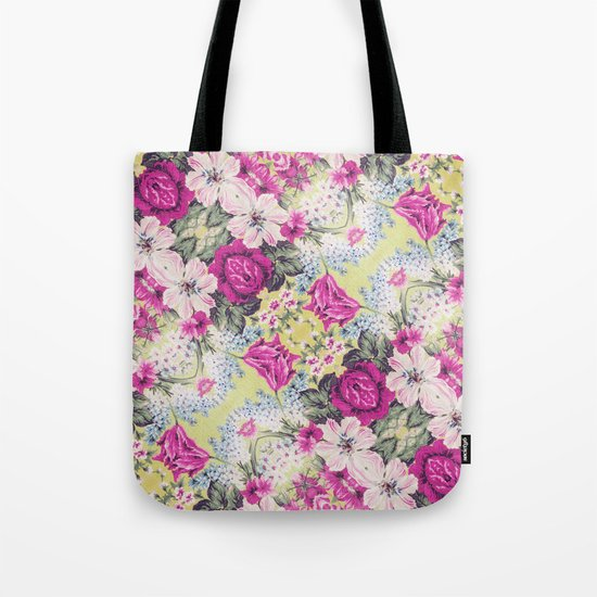 Trendy Vintage Purple Teal Floral Fashion Pattern Tote Bag