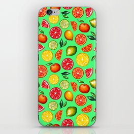 Citrus pattern on green background iPhone Skin