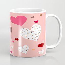 Flying Hearts pink burgundy Coffee Mug