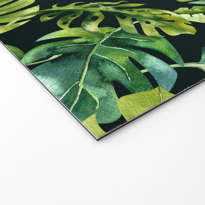 Watercolor Botanical Tropical Palm Leaves on Solid Black Background Welcome Mat