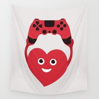 gaming Wall Tapestries featuring Gaming Heart by Boriana Giormova