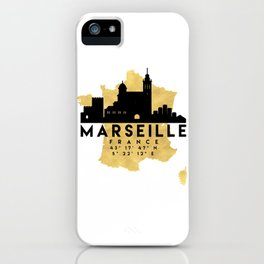 MARSEILLE FRANCE SILHOUETTE SKYLINE MAP ART iPhone Case