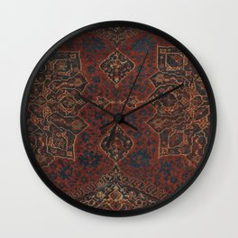 Boho Chic Dark V // 17th Century Colorful Medallion Red Blue Green Brown Ornate Accent Rug Pattern Wall Clock