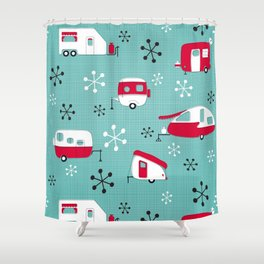 Red Campers on Aqua Shower Curtain