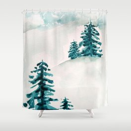 pine trees on the hill Shower Curtain