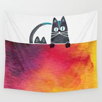 cats Wall Tapestries featuring Cats by Cat Coquillette