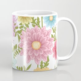 Painted Floral Pattern With Dahlias And Chrysanthemums Coffee Mug