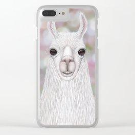 Llama farm animal portrait Clear iPhone Case