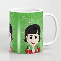 amelie Mugs featuring Amelie Poulain by Camila Oliveira