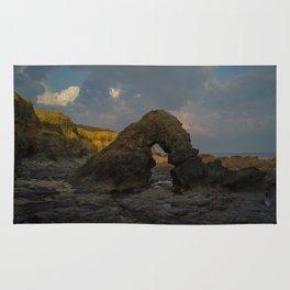 la mine france aerial drone shot cliff people sunset clouds goldenhour rock Rug